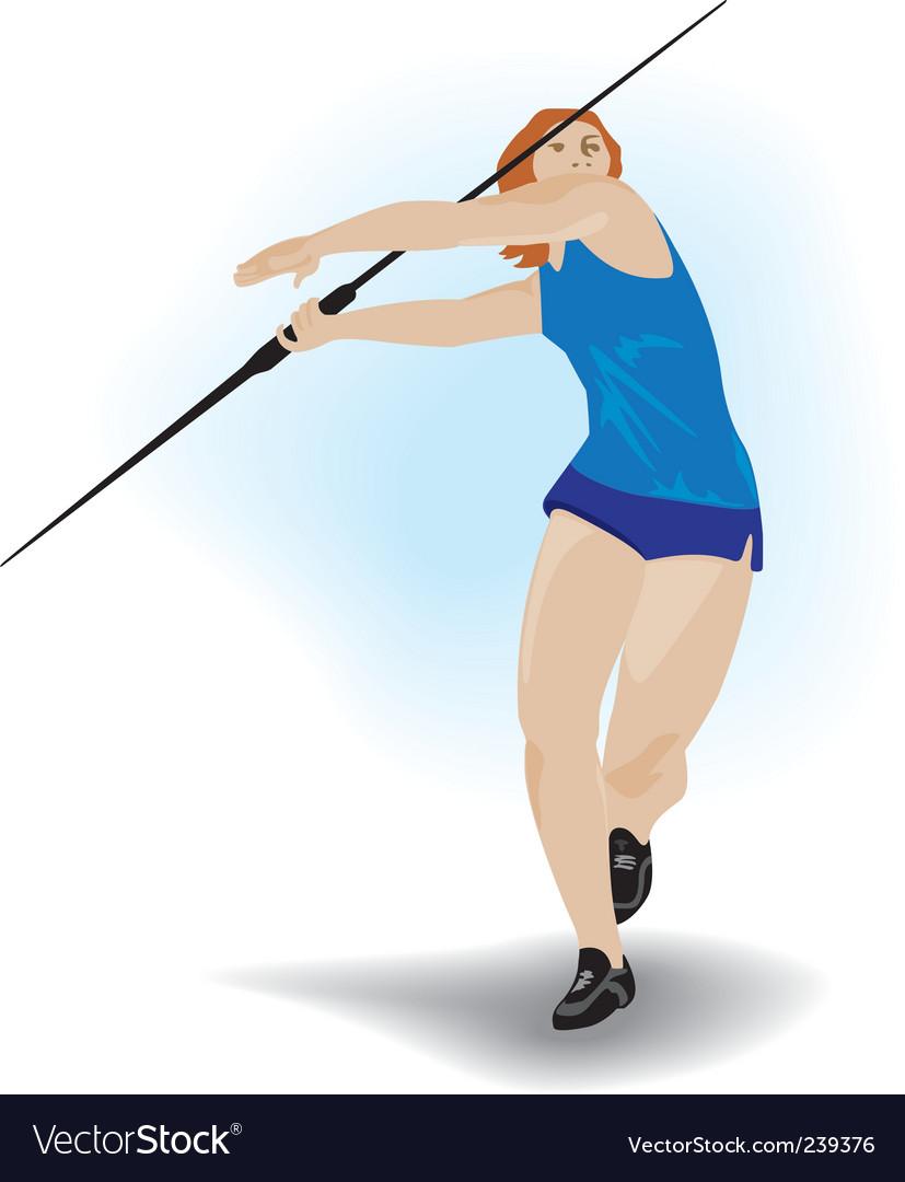 Spear hurler girl vector image