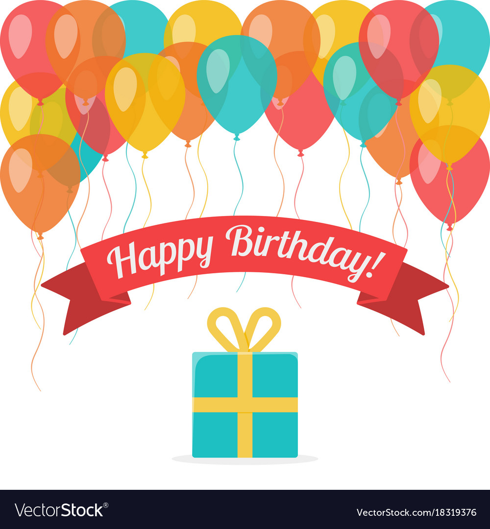 Happy birthday greeting card with flying balloons vector image bookmarktalkfo Choice Image