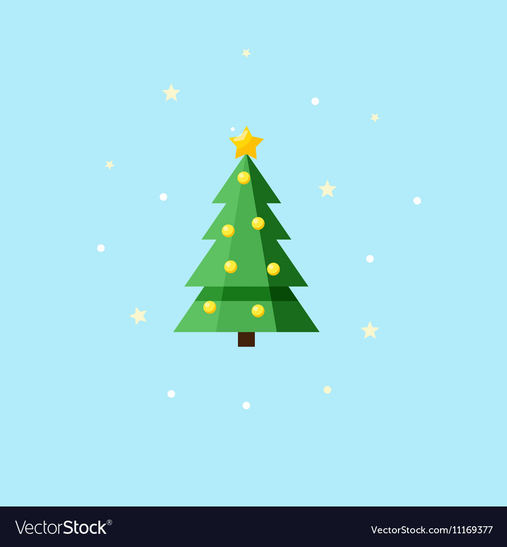 Christmas decorated fir-tree - Icon vector image