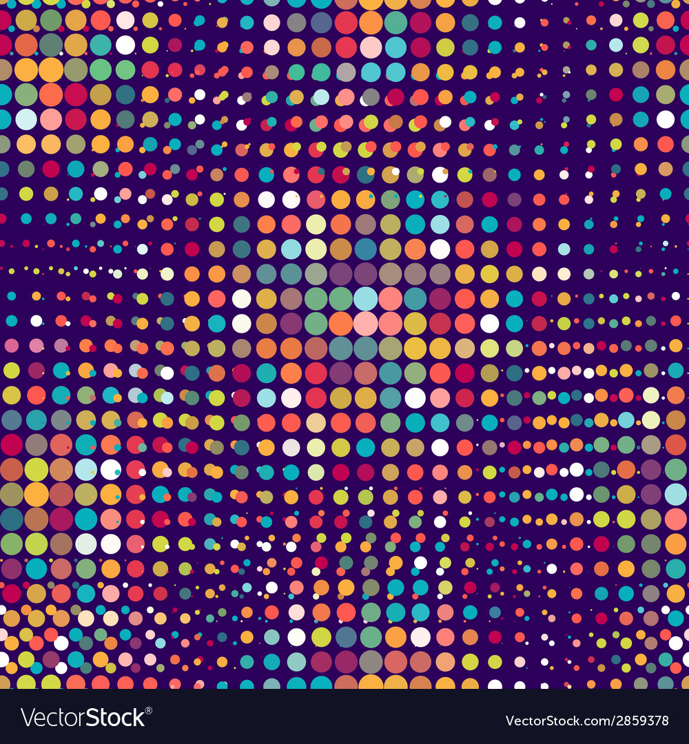 Disco seamless pattern of halftone dots in retro vector image