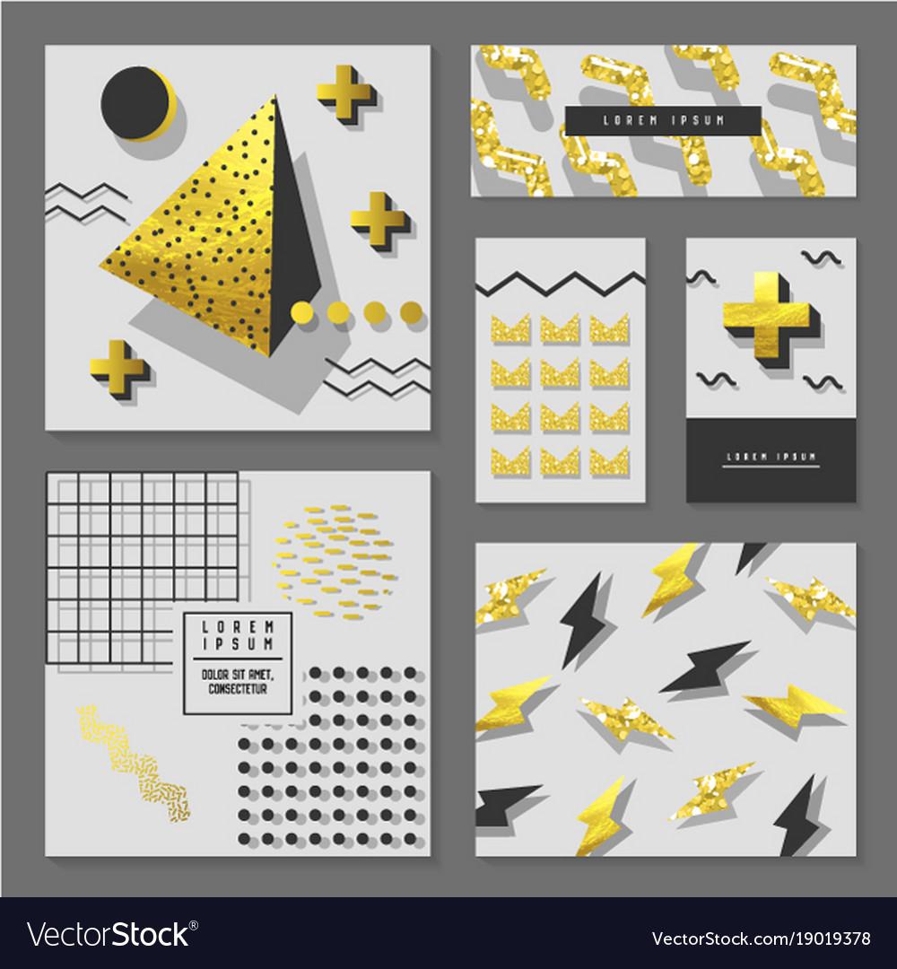 Golden glitter geometric design for invitations vector image stopboris Images