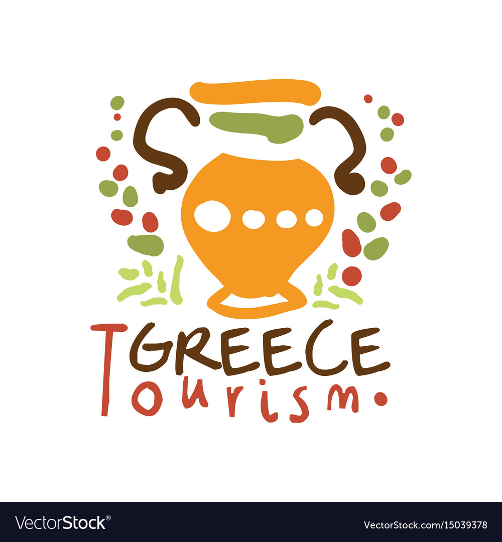 Greece tourism logo template hand drawn vector image