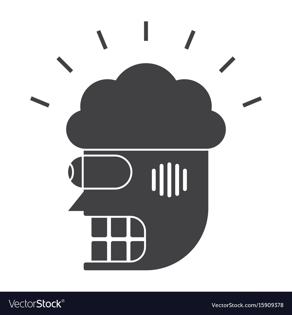 Robot head with brain icon vector image
