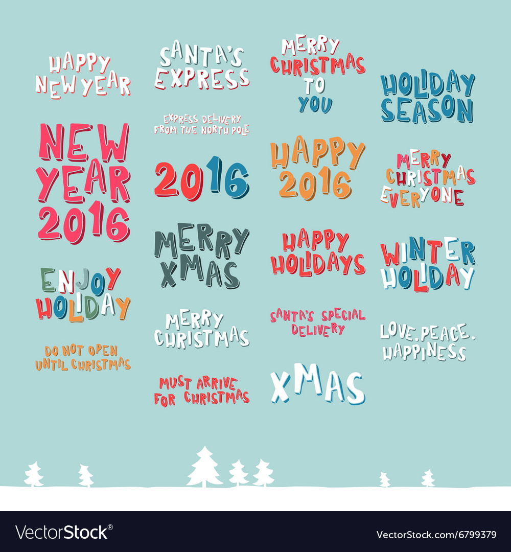A large collection of christmas greeting phrases vector image m4hsunfo