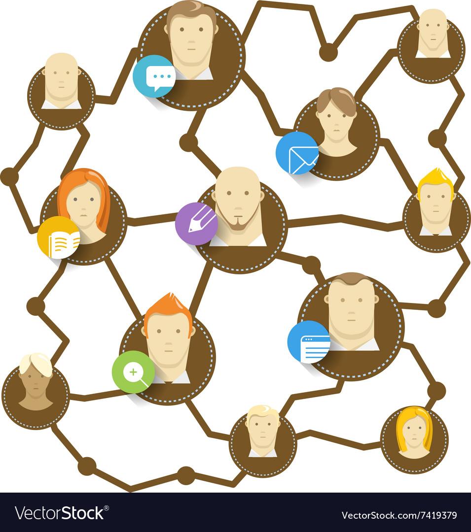 Modern social media network concept vector image