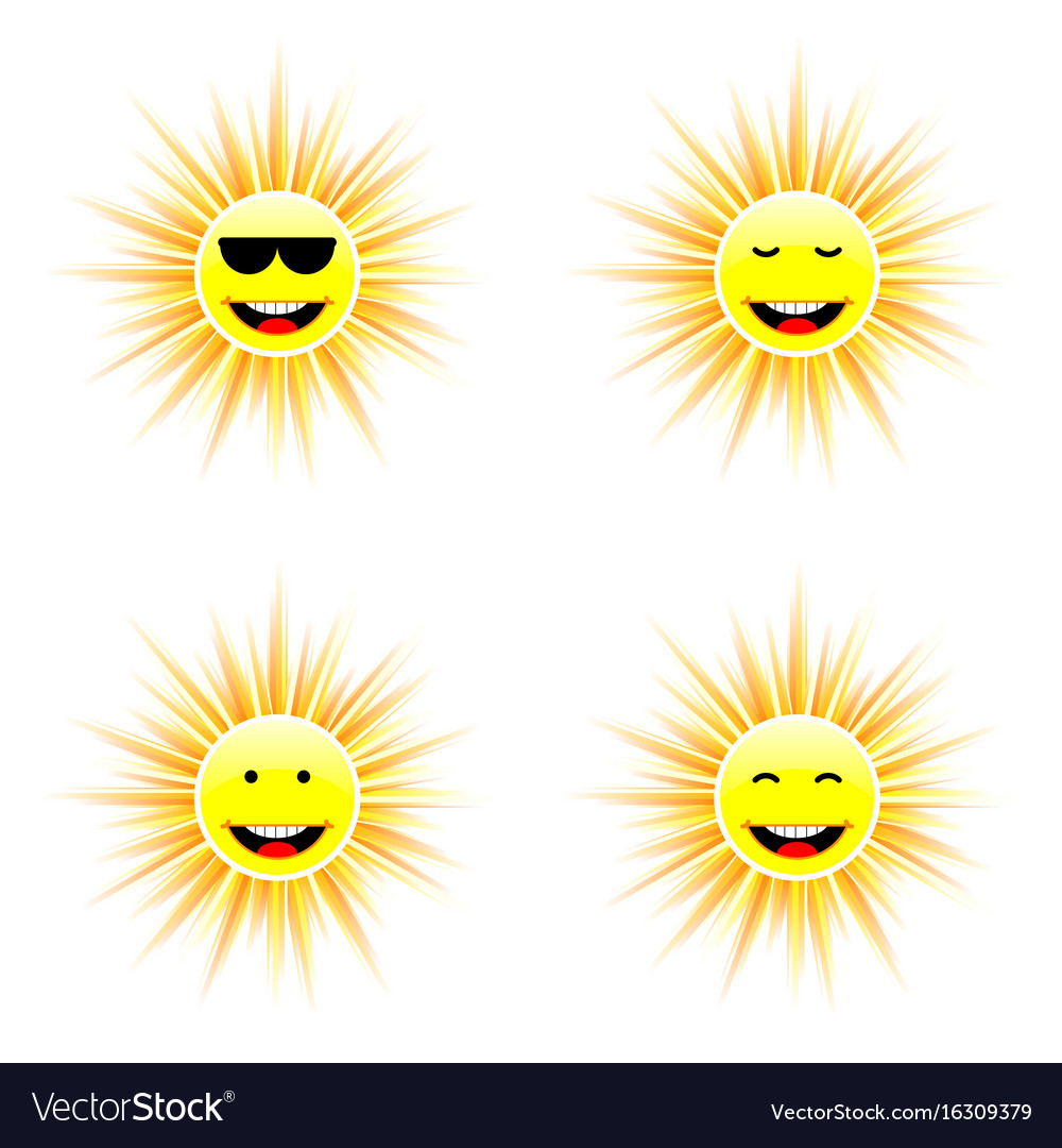 Sun with different face smile vector image