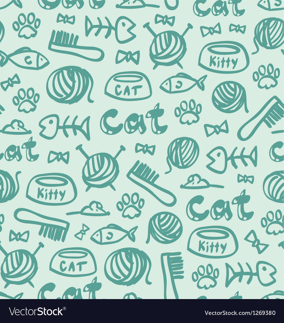 Cat stuff pattern vector image