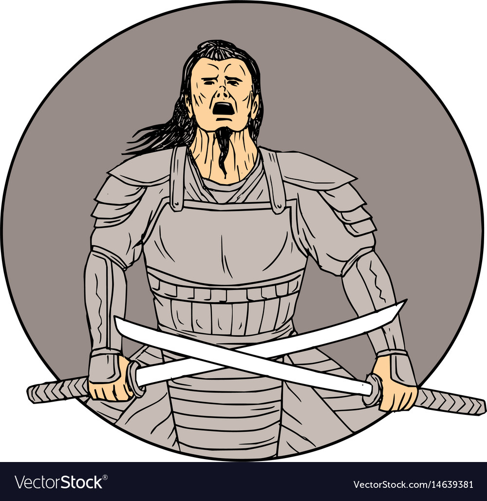 Angry samurai warrior crossing swords oval drawing vector image