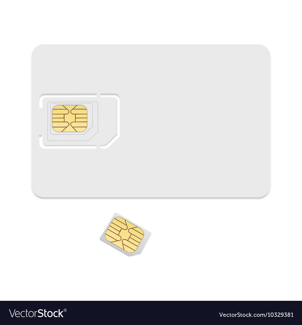 Blank sim card template Realistic icon vector image