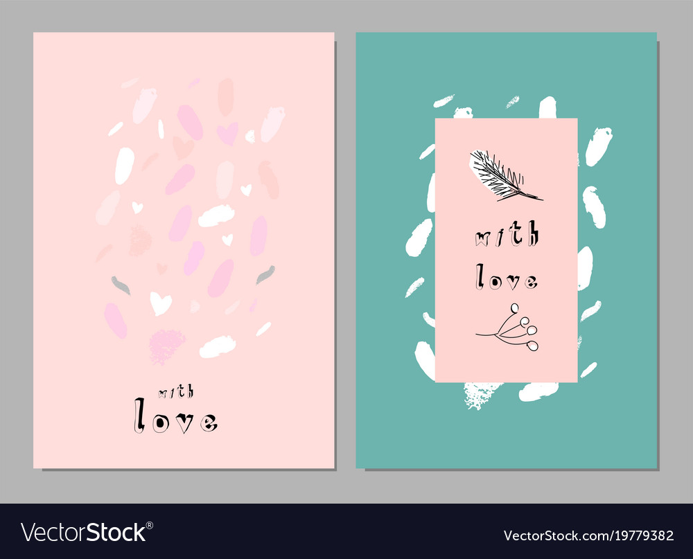 Lovely abstract hand drawn greeting cards vector image kristyandbryce Gallery
