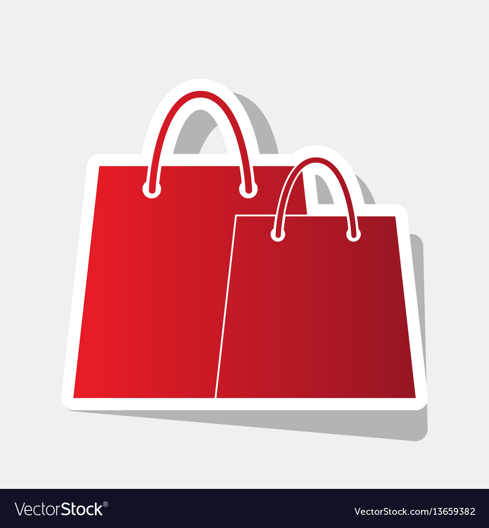 Shopping bags sign new year reddish icon vector image