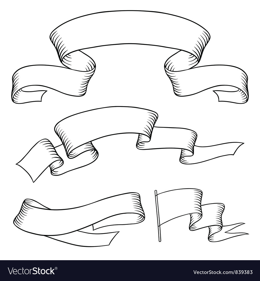 Set old banners hand drawn style vector image