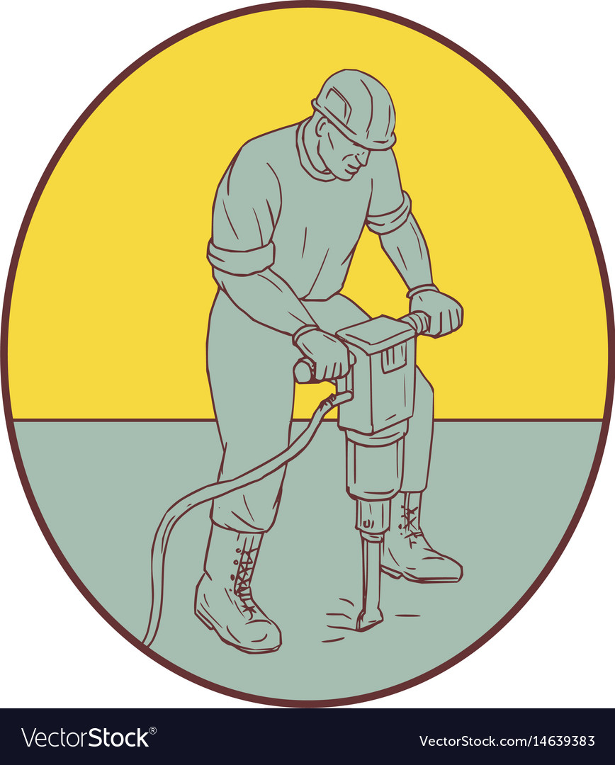Construction worker operating jackhammer oval vector image