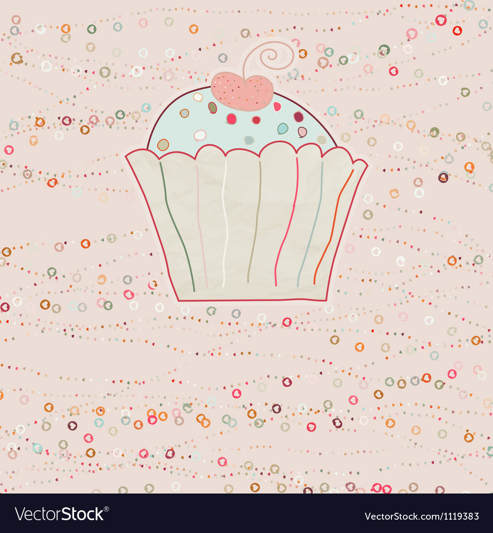 Cupcake valentine card EPS 8 vector image