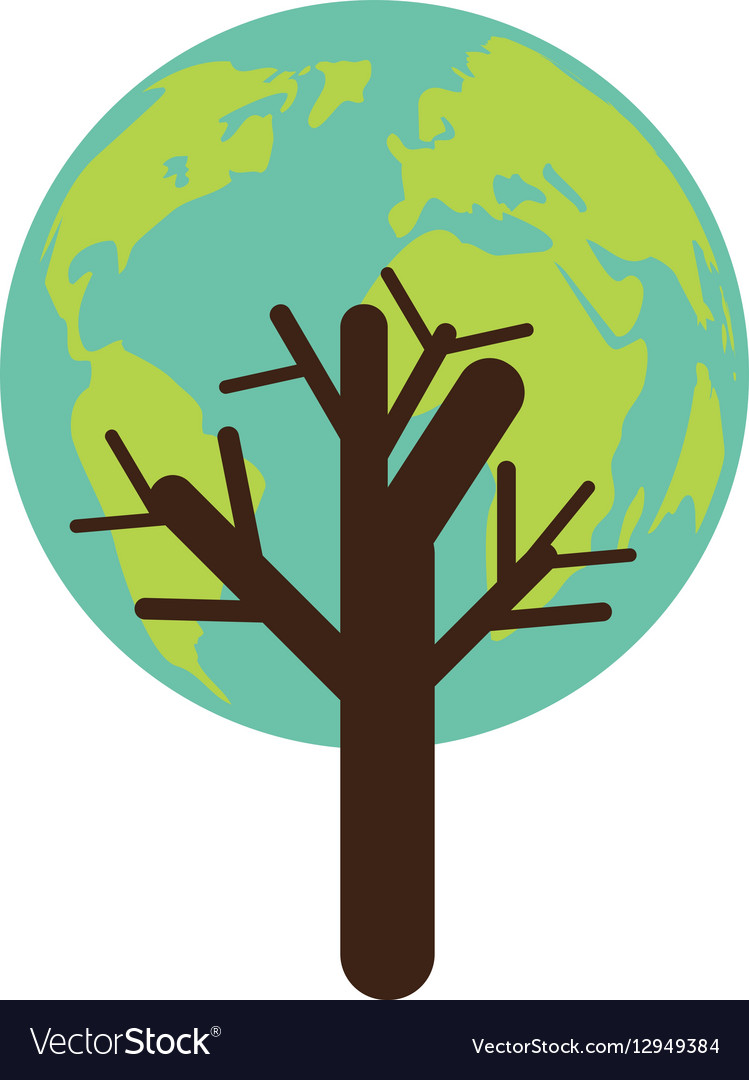 Colorful tree with leaves in shape earth world Vector Image