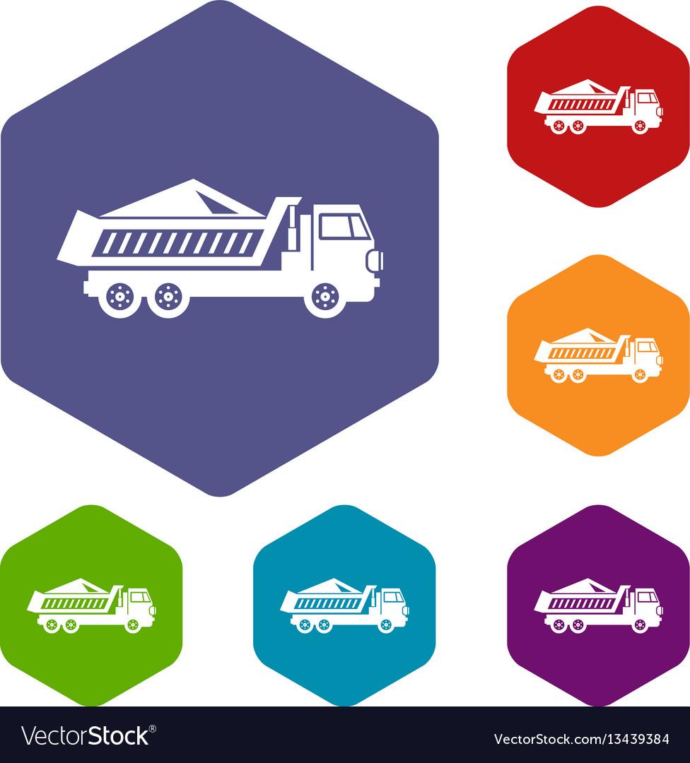 Dump track icons set vector image