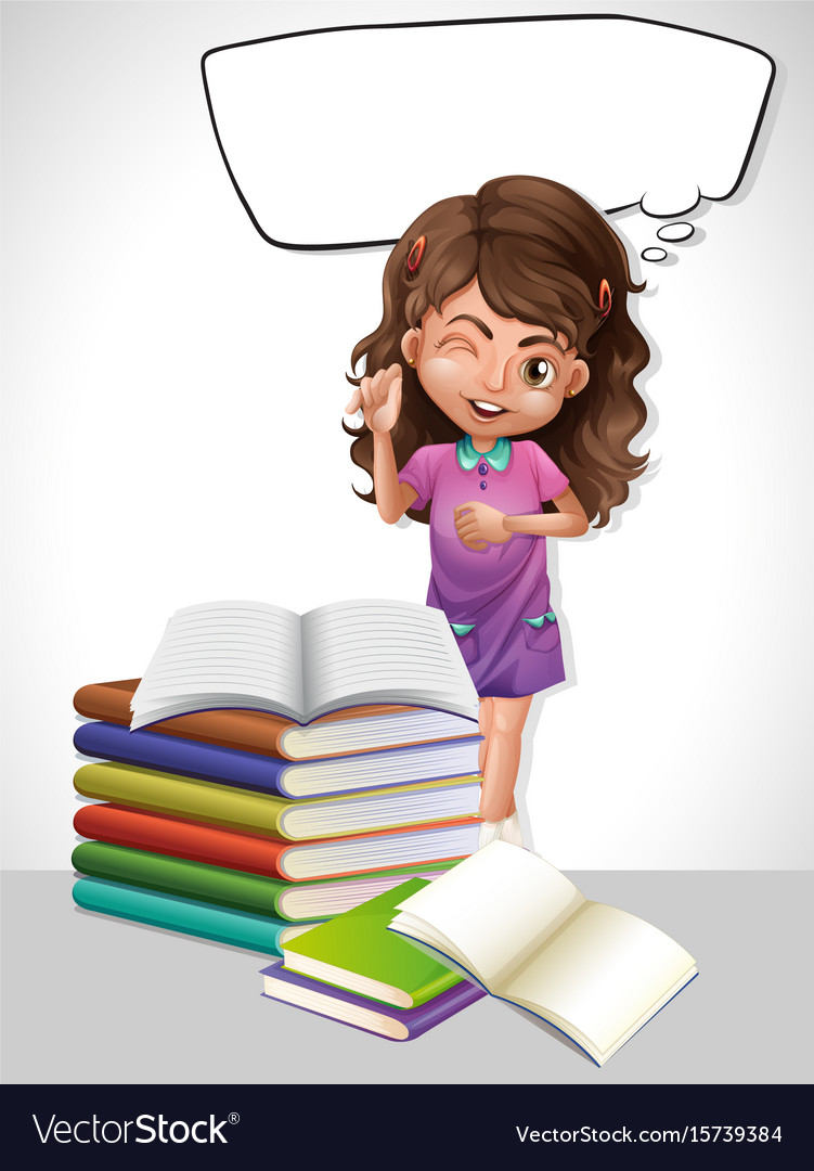 Little girl and book with speech bubble template vector image