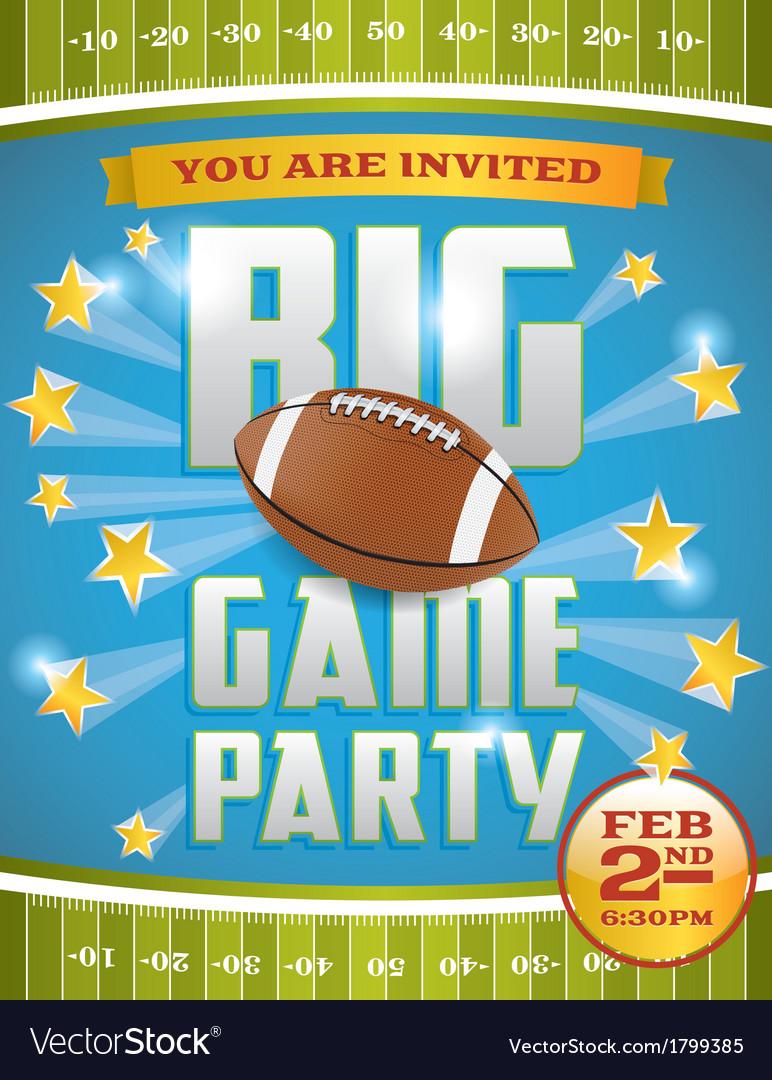 Football Game Invitation Flyer vector image