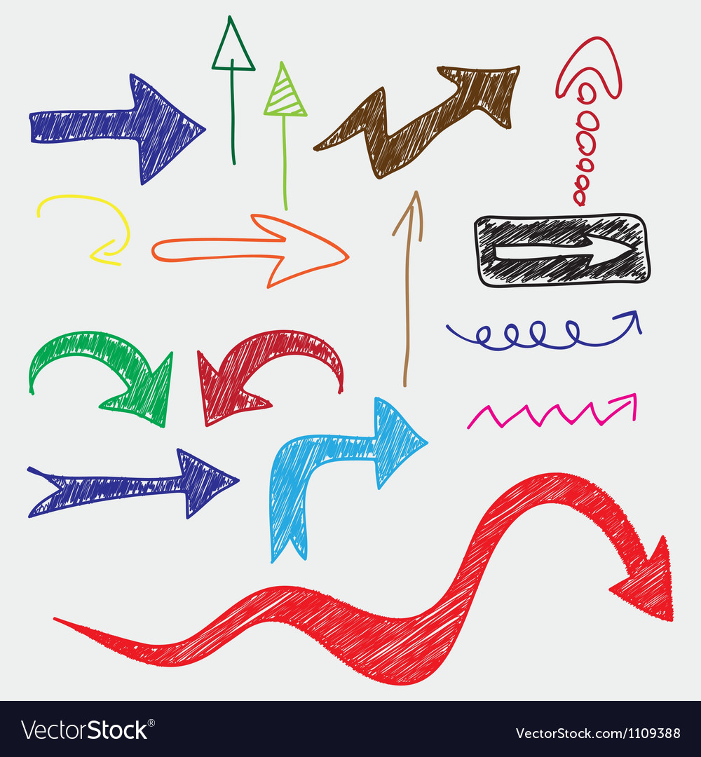 Arrows doodle vector image