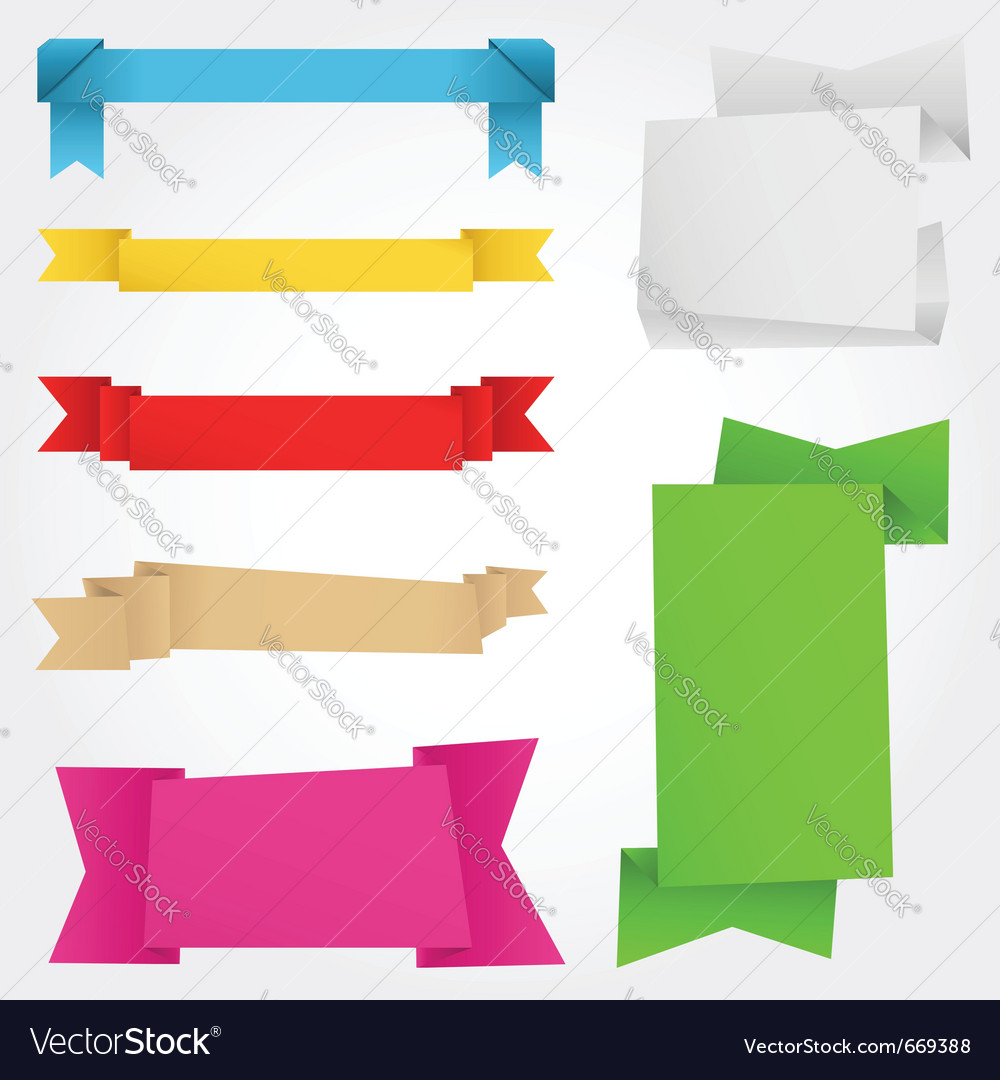 Origami banners vector image