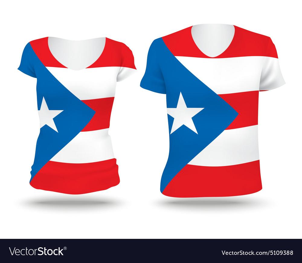 Flag shirt design of Puerto Rico vector image