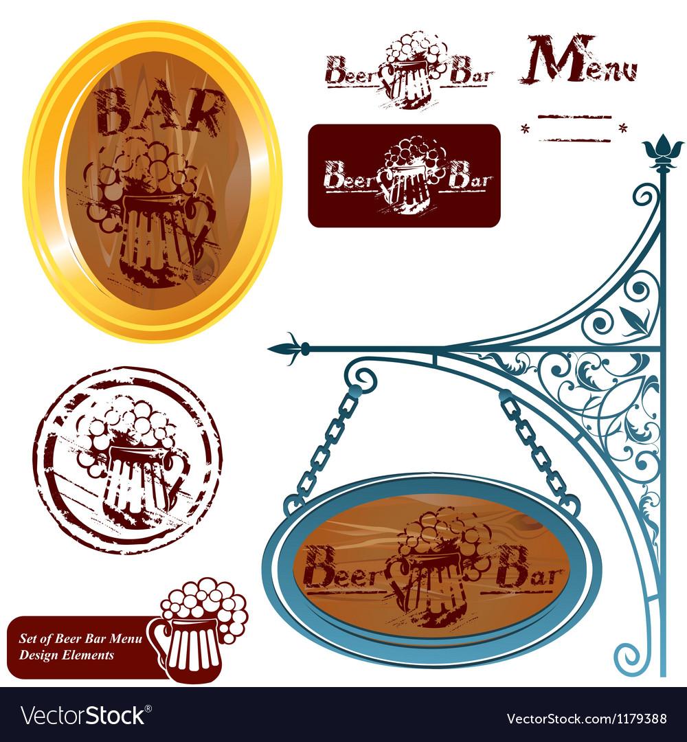 Set of different beer bar menu design elements vector image