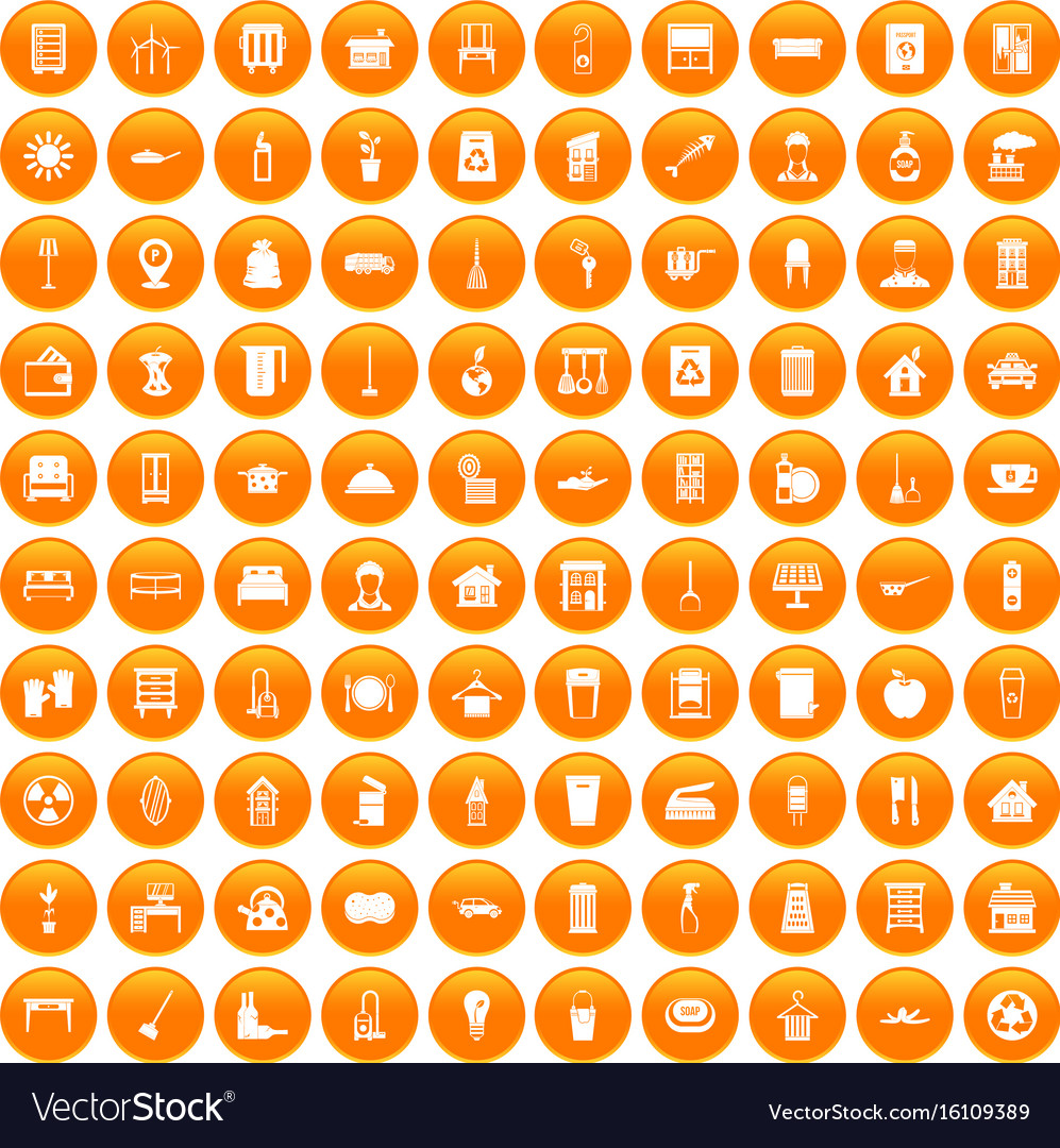 100 cleaning icons set orange vector image