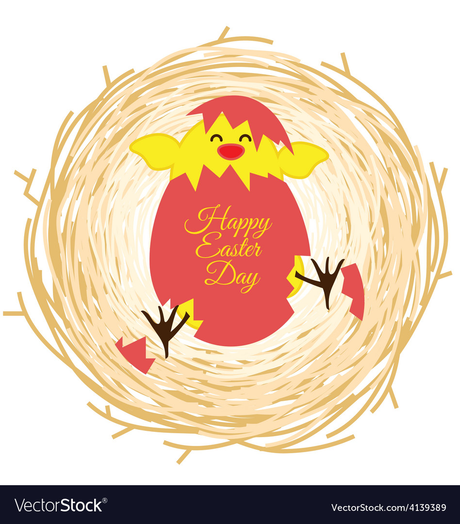 Bird nest and egg for Easter day greeting card vector image