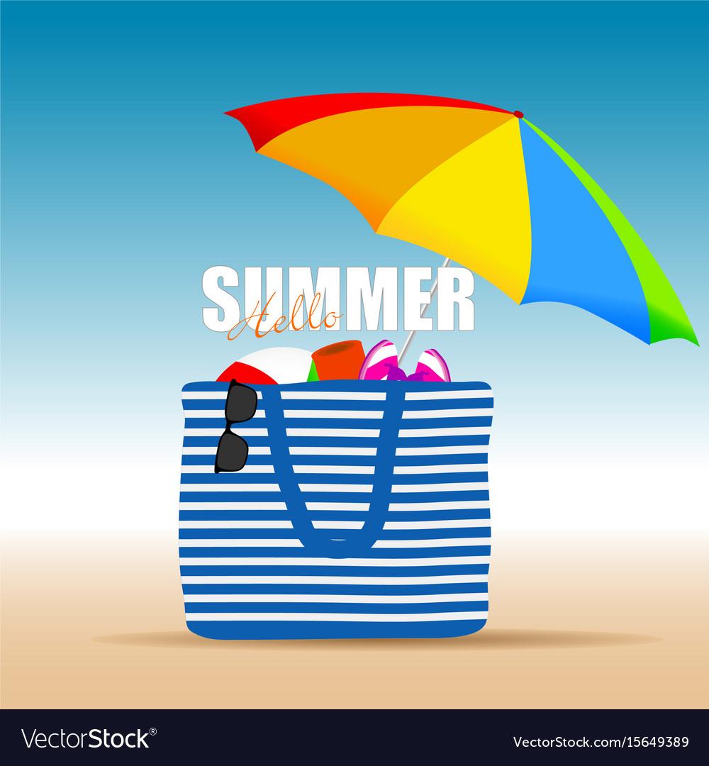 Hallo summer on color bag with beach accesoir vector image