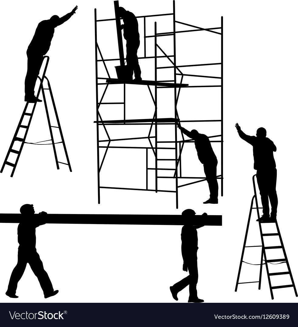 Silhouette worker climbing the ladder Royalty Free Vector for Worker Climbing Ladder  lp5fsj