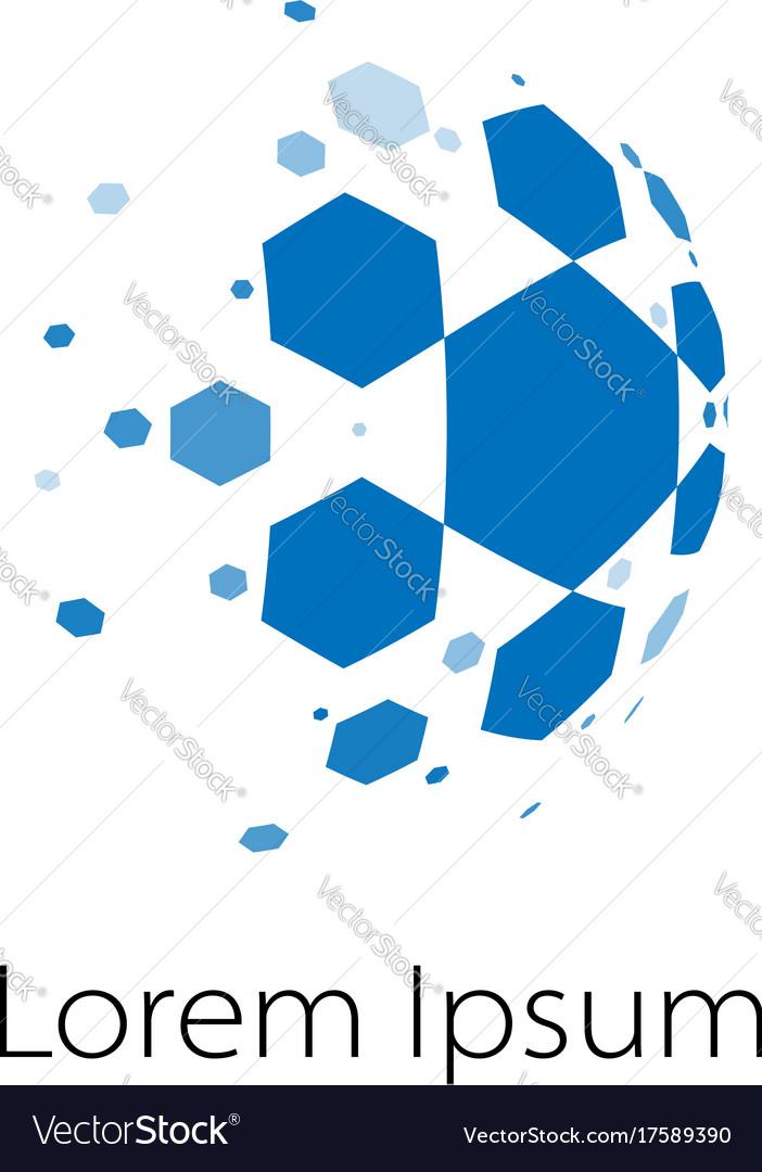 Abstract spheric soccer ball logo vector image