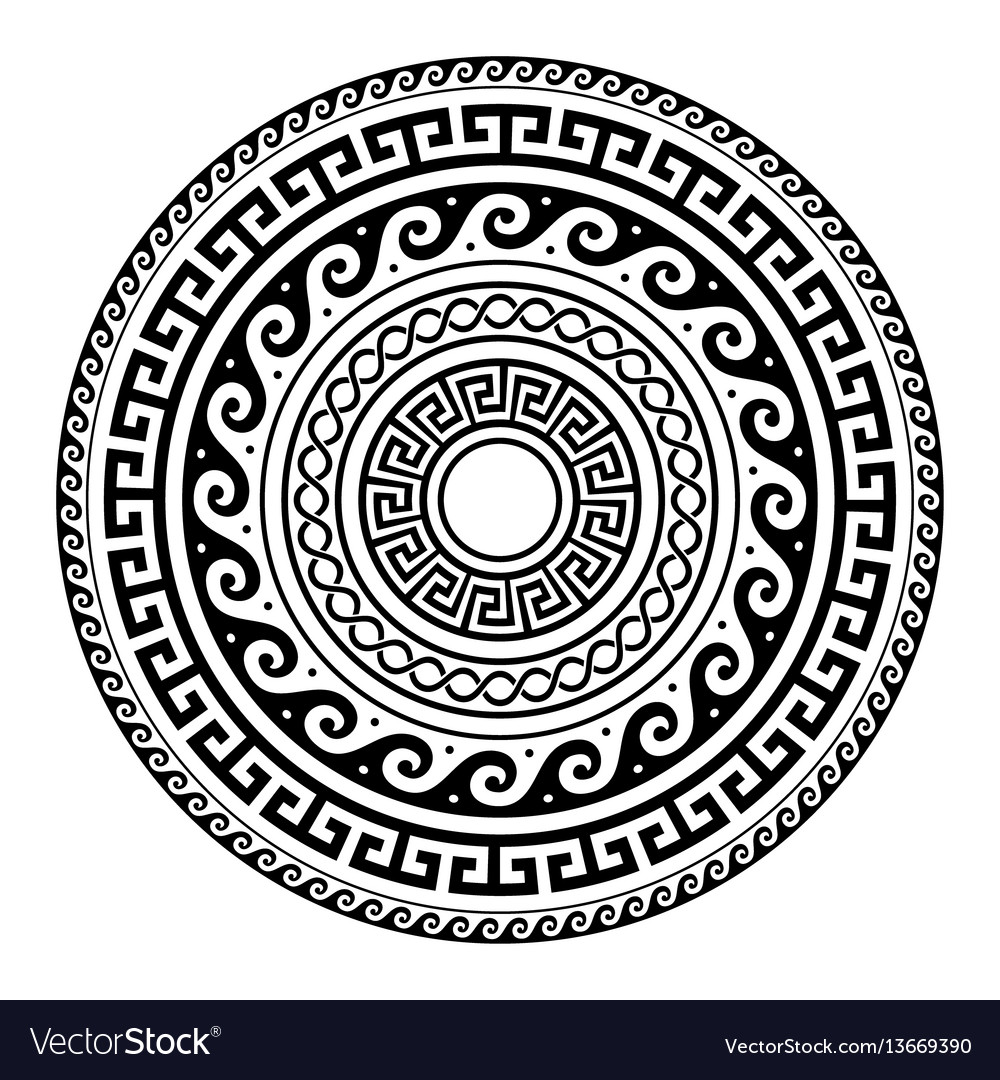 Ancient greek round key pattern meander art vector image ancient greek round key pattern meander art vector image reviewsmspy