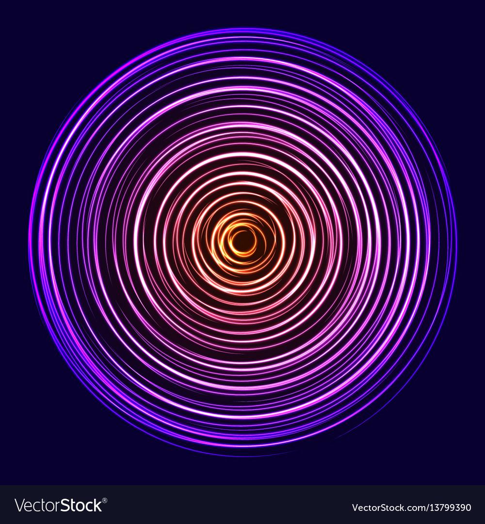 Glow spin neon circles vector image