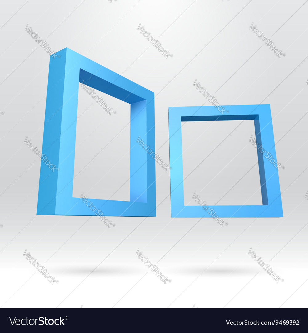 Two blue rectangular 3d frames royalty free vector image two blue rectangular 3d frames vector image jeuxipadfo Choice Image