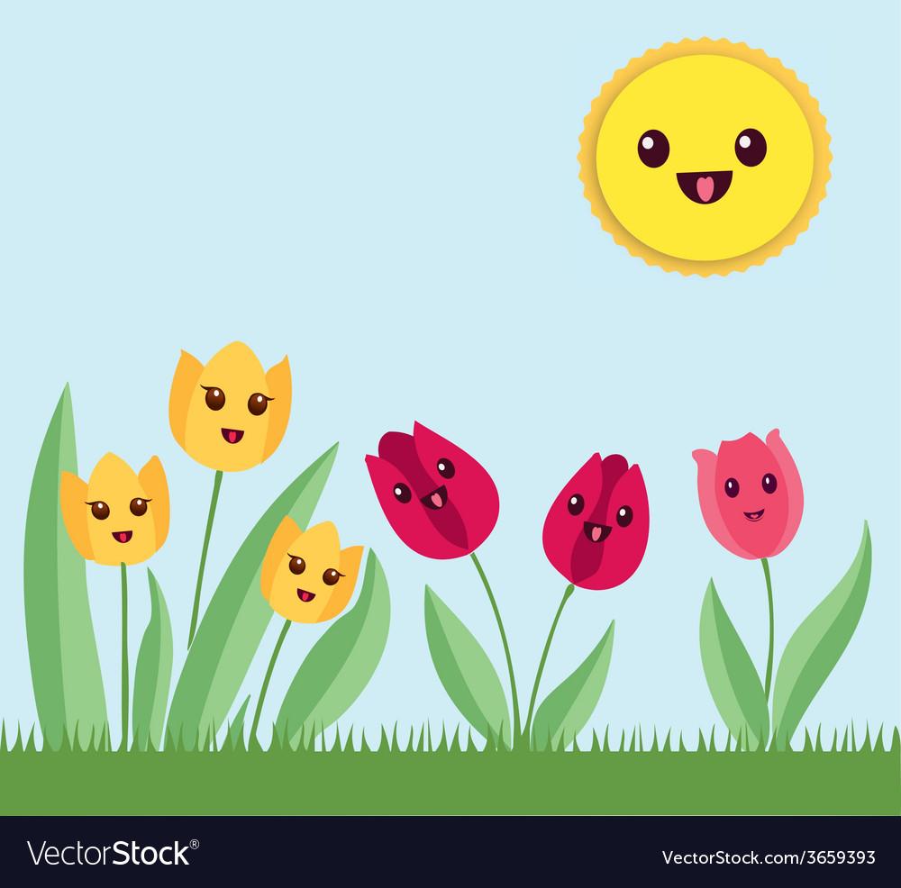 Flower garden cartoon - Kawaii Flowers Garden Vector Image