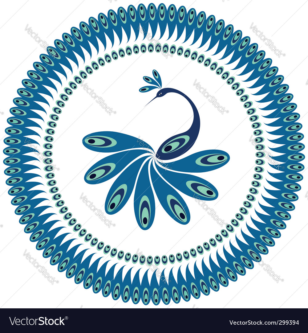 Peacock decorative pattern for plate vector image