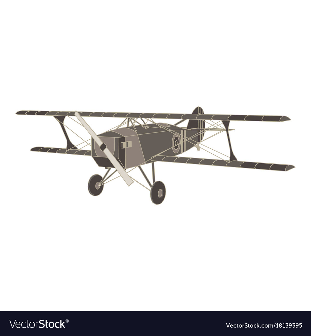 Black flat icon of vintage biplane airplane vector image