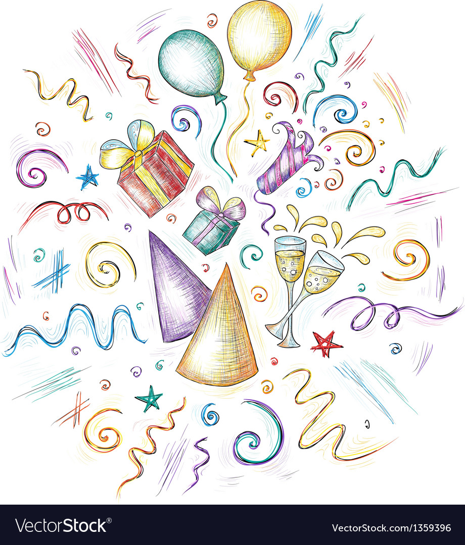 Hand drawn of celebration elements Vector Image
