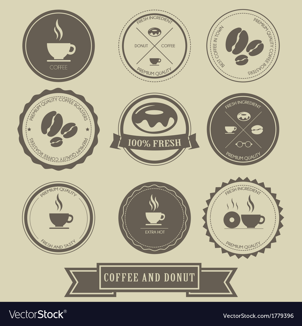 Coffee and Donut Label Design vector image
