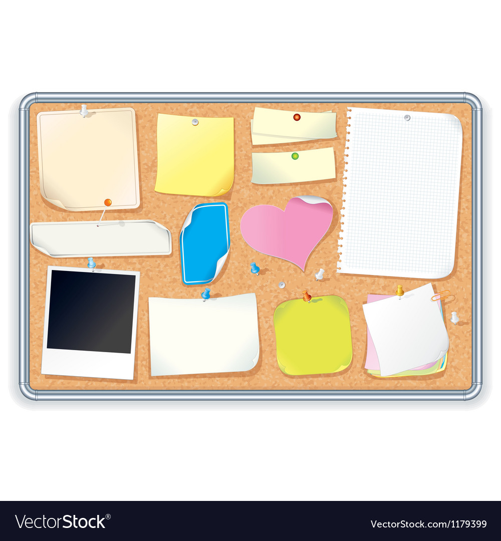 Cork Notice Board with Blank Notes Image vector image