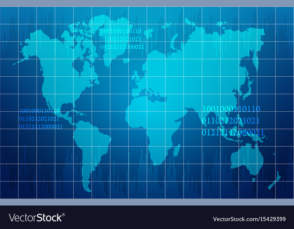 Abstract world map in technology design background vector image