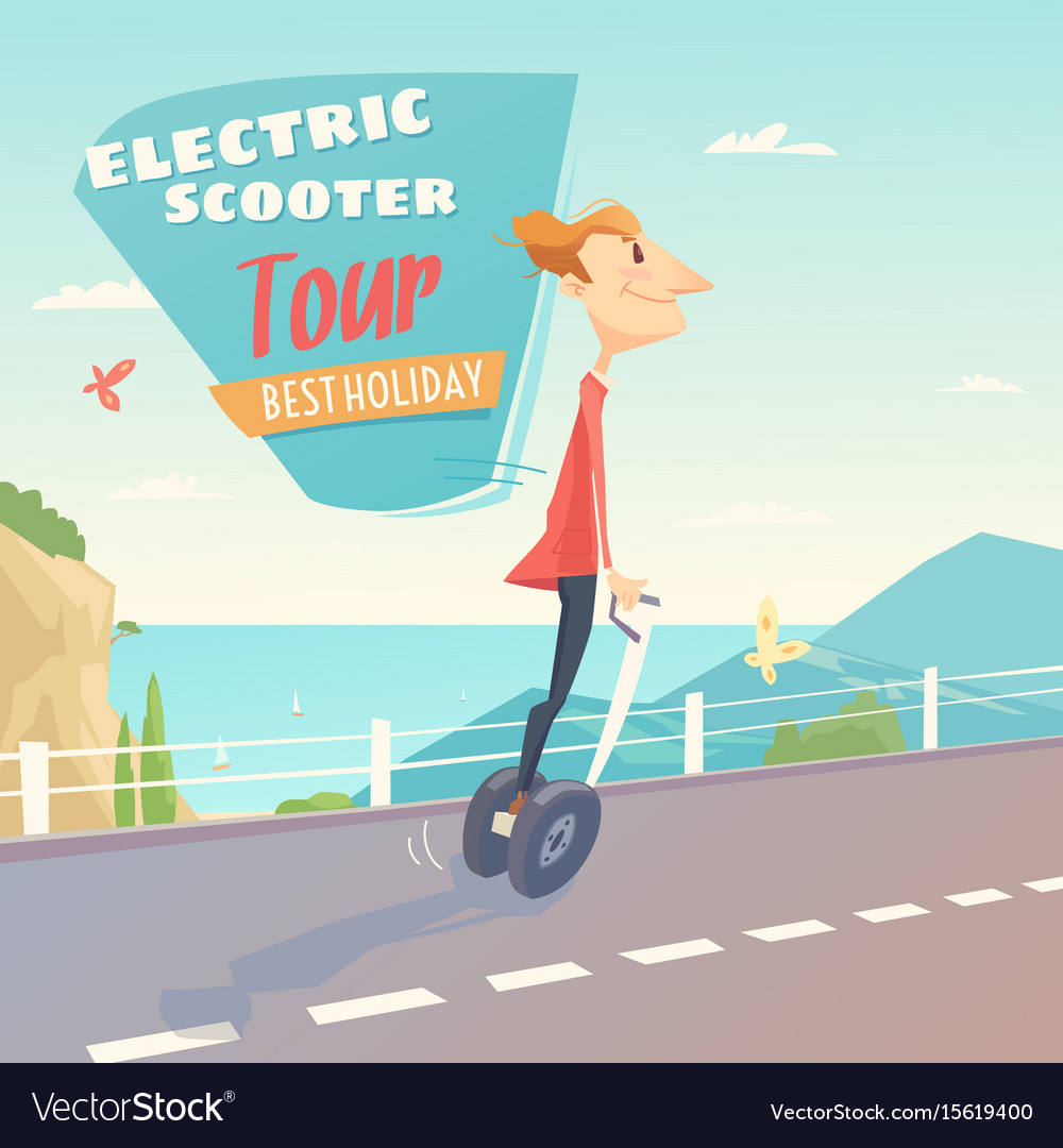 Banner for self-balancing electric scooter vector image