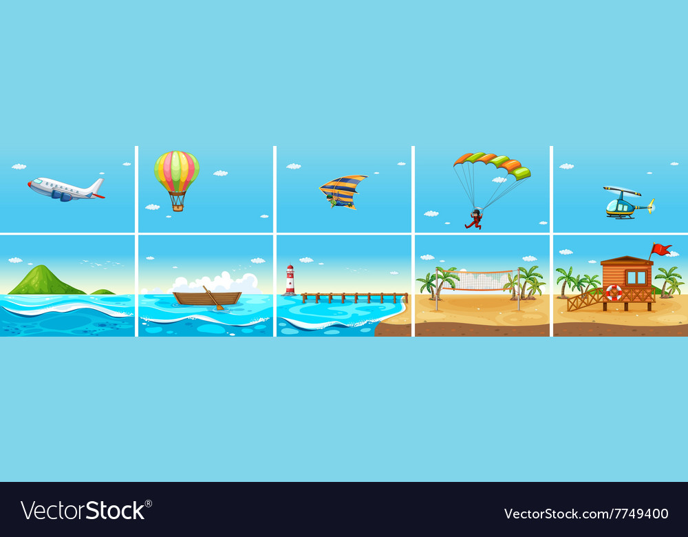 Nature scene with ocean and beach vector image