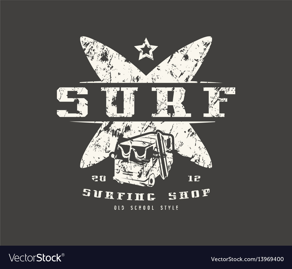 Surfing shop emblem graphic design for t-shirt vector image
