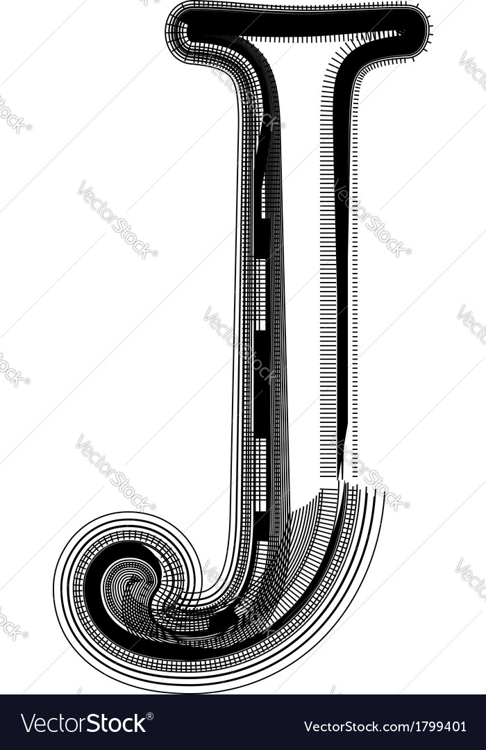 Abstract font letter J vector image