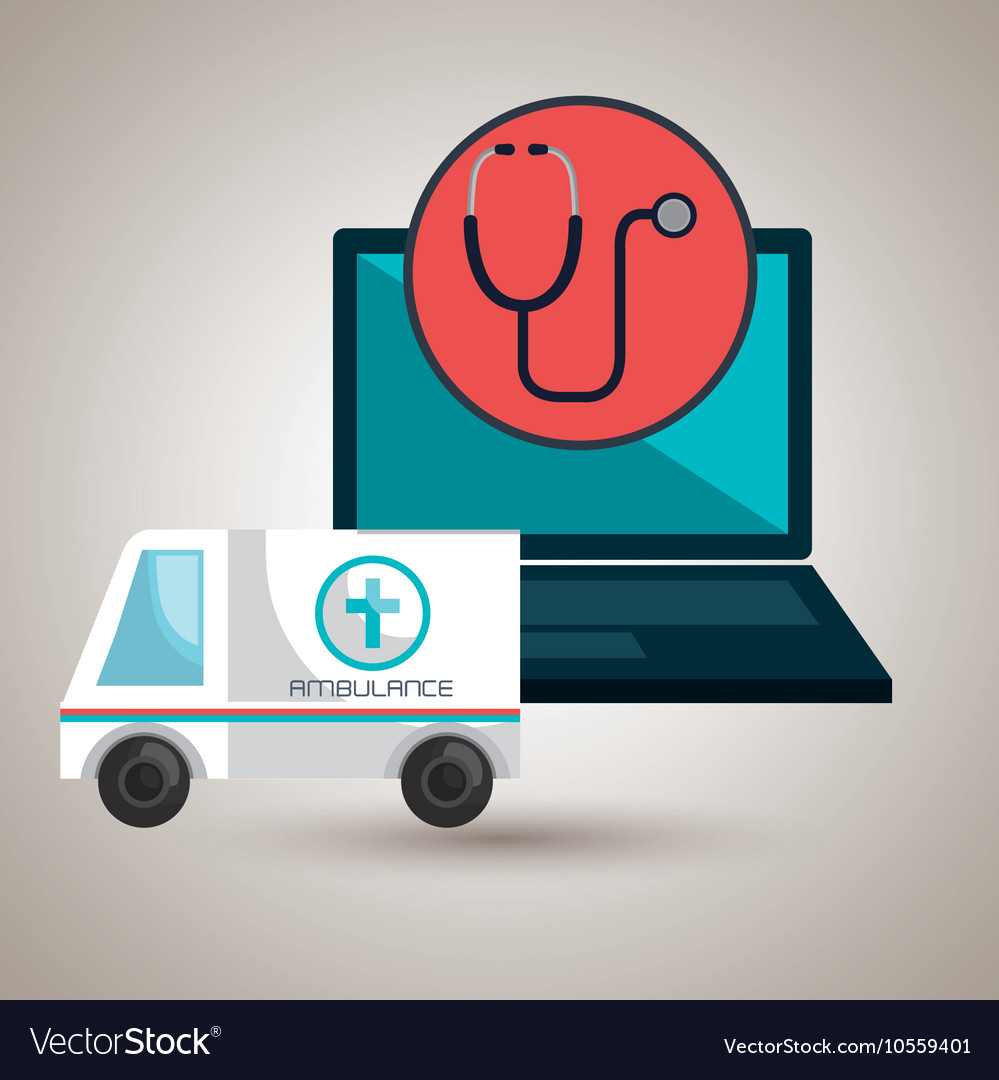 Ambulance health laptop icon vector image
