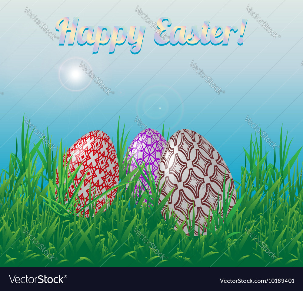 Template Easter greeting card Three Easter eggs vector image