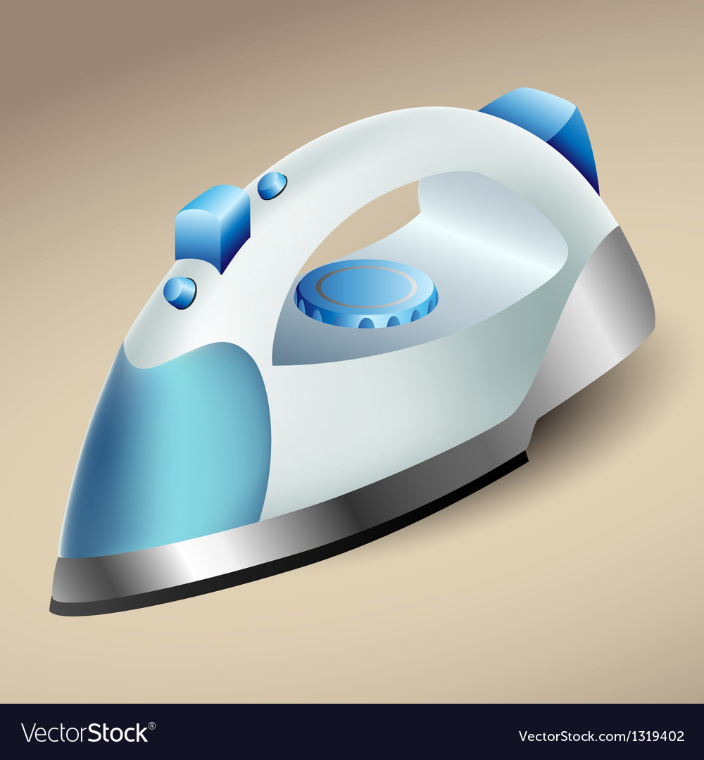 Blue steam iron vector image