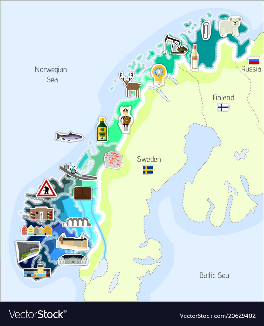 Map of norway Royalty Free Vector Image VectorStock