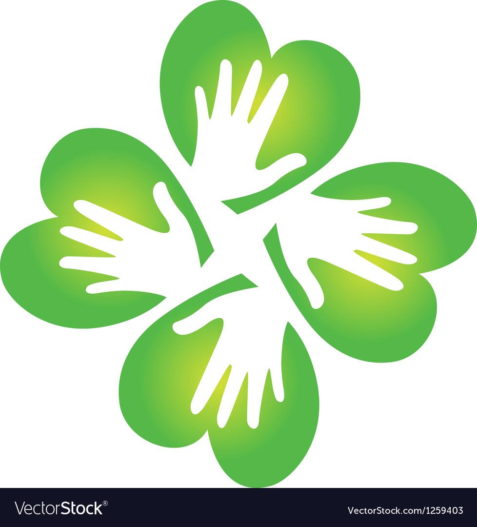 Shamrock and hands logo vector image